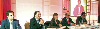 La consejera de Trabajo y Empleo, María Luz Rodríguez, ha presidido en Toledo el acto de celebración del 75º Aniversario de FREMAP junto al presidente de la empresa, Mariano de Diego (1º dcha), y otros representantes nacionales y regionales.