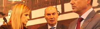 La consejera de Fomento, delegado de la Junta en Guadalajara y el presidente de la Diputación de Guadalajara.