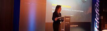 Montserrat García Blanco, directora de Diseño e Implantación de Soluciones para Empresas  de Telefónica durante la inauguración de la jornada.