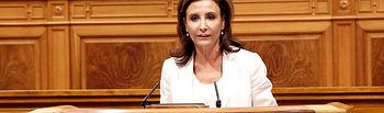 Marta García de la Calzada en el Pleno de las Cortes regionales. Foto: JCCM.