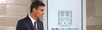 El presidente del Gobierno, Pedro Sánchez, durante la conferencia de prensa ofrecida tras la última reunión del Consejo de Ministros antes de las vacaciones de verano.