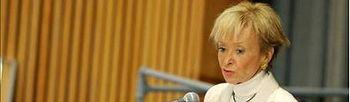 La vicepresidenta primera del gobierno español, María Teresa Fernández de la Vega, habla durante la conferencia internacional de donantes en favor de Haití, en la sede de la ONU. EFE