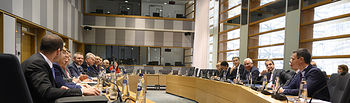 El presidente del Gobierno, Pedro Sánchez, participa en la reunión de los líderes de los Países Amigos de la Cohesión, celebrada en el marco del Consejo Europeo extraordinario en el que se debate el presupuesto comunitario. Foto: fotobpb