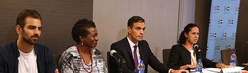 """El presidente del Gobierno, Pedro Sánchez, durante su participación en el acto """"Violencia contra las Mujeres y Jóvenes con Discapacidad"""", celebrado en Nueva York."""