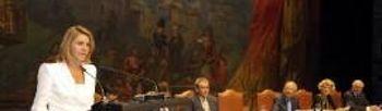 Cospedal, clausurando el acto de entrega de los Premios de la Real Fundación Toledo