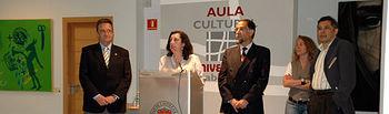Los vicerrectores Mairena Martín y Juan José Rubio, Jaime de Arenal y los pintores Flavia Toto y Carlos Vidal