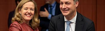 La vicepresidenta Nadia Calviño asiste a las reuniones del Eurogrupo y el Ecofin.
