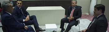 l presidente del Gobierno, Pedro Sánchez, durante la reunión conjunta con los presidentes de Ecuador, Lenín Moreno, de Colombia, Iván Duque, y de Costa Rica, Carlos Alvarado Quesada.