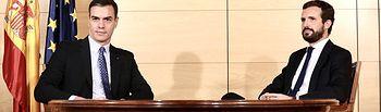 Reunión que han mantenido en el Congreso el secretario general del PSOE y presidente del Gobierno en funciones, Pedro Sánchez, con el presidente del Partido Popular, Pablo Casado. Foto: Inma Mesa Cabello
