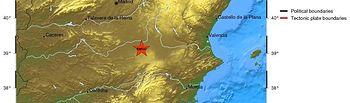 Localicación del epicentro del Terremoto.