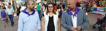 El secretario general de Podemos en Castilla-La Mancha, José García Molina, la secretaria de Organización, María Díaz, y Alfonso Moratalla, secretario general Podemos Albacete visitan la Feria de Albacete.