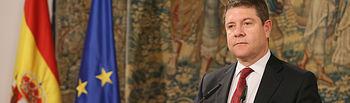 El presidente de Castilla-La Mancha, Emiliano García-Page, mantiene, en el Palacio de Fuensalida, un encuentro con medios de comunicación de la comunidad autónoma. (Fotos: Ignacio López // JCCM)