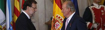 El presidente del Gobierno, Mariano Rajoy, durante el acto solemne de sanción y promulgación de la Ley Orgánica por la que se hace efectiva la abdicación de S.M. el Rey don Juan Carlos I de Borbón, que ha tenido lugar en el Palacio Real.