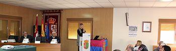 Carolina Agudo, durante el acto del 40 Aniversario del Primer Ayuntamiento Democrático, con motivo del Día de la Constitución, en Valmojado.