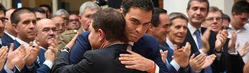 Pedro Sánchez en la toma de posesión de Emiliano García-Page como presidente de Castilla-La Mancha.