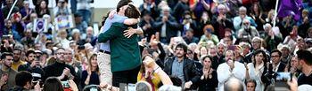 Pablo Iglesias y Ada Colau, en un momento del acto. FOTO: DANI GAGO