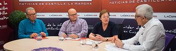 José Antonio García, presidente de la Fundación Banco de Alimentos de Albacete, Rafael López, integrante de la Fundación 'El Sembrador', dependiente de Cáritas, Rosa García, directora de Cáritas Diocesana en Albacete, y Manuel Lozano, director del Grupo Multimedia de Comunicación La Cerca.
