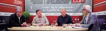 Quico Lledó, vocal del Banco de Alimentos de Albacete; Jesús Requena, vocal del Banco de Alimentos de Albacete; José Antonio García, presidente del Banco de Alimentos de Albacete; y Manuel Lozano, director del Grupo Multimedia de Comunicación La Cerca