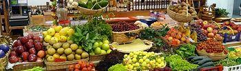 Mercado-frutas. Imagen de archivo.