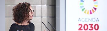 La ministra Portavoz y de Hacienda, María Jesús Montero, en rueda de prensa tras la reunión entre el presidente del Gobierno, Pedro Sánchez y el presidente del PP, Pablo Casado,en la Moncloa, Madrid (España), a 17 de febrero de . Foto: Europa Press 2020