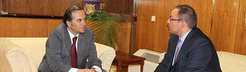 José Julián Gregorio se reúne con el director de Relaciones Externas de Mercadona en Castilla-La Mancha, José Ruiz.