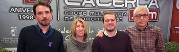 Carlos González, Lourdes González, Manuel Martínez, de la Red Feminista Albacete, junto a Manuel Lozano, director del Grupo Multimedia de Comunicación La Cerca