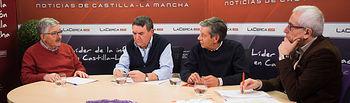Juan Antonio Mata (funcionario de Justicia, sindicalista y, en su día, secretario general de estas Comisiones Obreras regional que celebra su 40º aniversario); Venancio Cuenca López y Ricardo Cantos Griñán (ambos, miembros de aquella primera Ejecutiva que tuvo CC.OO. en Castilla-La Mancha); y Manuel Lozano (director del Grupo Multimedia de Comunicación La Cerca).
