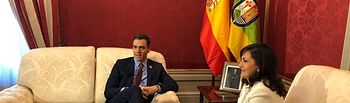 El presidente del Gobierno reunido con la presidenta de La Rioja en Logroño.