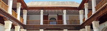Imagen del patio del Palacio de Fuensalida tras el fin de las obras de rehabilitación y restauración.