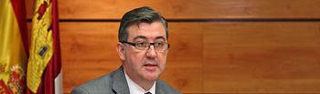 El Consejero de Educación, Cultura y Deportes de Castilla-La Mancha, Marcial Marín, durante su comparecencia en las Cortes Regionales (I)