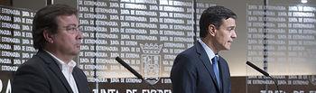 El secretario general Pedro Sánchez comparece junto al presidente de la Juanta de Extremadura en Mérida