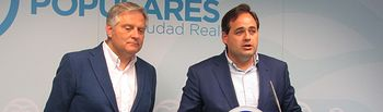 Rueda de prensa que ha ofrecido el presidente del PP de Castilla-La Mancha, Paco Núñez, en Ciudad Real junto al candidato a la Alcaldía y presidente provincial del PP, Francisco Cañizares.