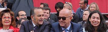 Alonso en Mora junto a su alcalde, Gregorio y Riolobos
