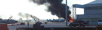 Accidente en la Base Aérea de Los Llanos. Foto: Twitter.