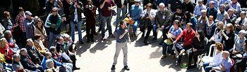 Pablo Iglesias en el pueblo de Nalda, La Rioja. FOTO: Dani Gago