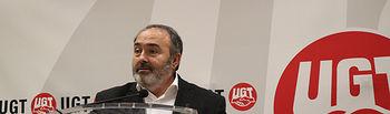 Carlos Pedrosa en rueda de prensa para presentar su dimisión como secretario general de UGT Castilla-La Mancha.