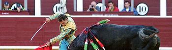 """Antonio Ferrera en la lidia del toro """"Gastasuelas"""" que indultó el pasado año en la Plaza de Toros de Albacete."""