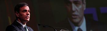 El presidente del Gobierno, Pedro Sánchez, interviene en el acto de clausura de la Asamblea de elecciones de la Asociación de Trabajadores Autónomos, en Madrid (España). Foto: Europa Press 2020