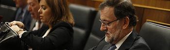 El presidente del Gobierno, Mariano Rajoy, asiste a la sesión de control al Gobierno en el Pleno del Congreso de los Diputados.