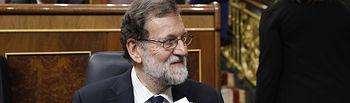 El presidente del Gobierno, Mariano Rajoy, al inicio de la sesión de control en el Congreso de los Diputados.