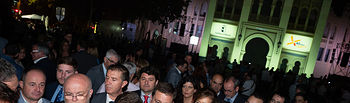 El presidente de Castilla-La Mancha, Emiliano García-Page, asiste al vídeo mapping en homenaje al 40 aniversario de la Constitución de 1978 proyectado sobre la Plaza de Toros de Albacete