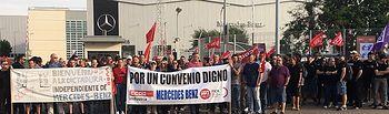 100% seguimiento primer día huelga indefinida Mercedes-Benz Recambios España