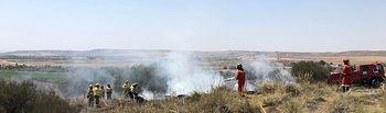 El incendio declarado en Toledo el viernes queda controlado y se desactiva el nivel 1 de alerta. Foto. Twitter @UMEgob