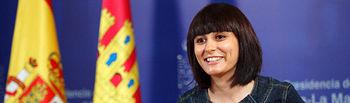 La portavoz del Gobierno regional, Isabel Rodríguez, durante la rueda de prensa que ha ofrecido hoy en Toledo para informar sobre los acuerdos del Consejo de Gobierno.