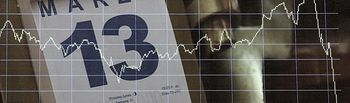 Un calendario que indica la fecha 'Viernes, 13 de Marzo' colocado en la Bolsa Española un día después de sufrir un desplome del 14,06% debido a la crisis del coronavirus, considerado ya el mayor desplome de su historia, en Madrid (España), a 13 de marzo de 2020.....U13 MARZO 2020;....13/3/2020. Foto: Europa Press 2020