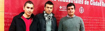 Los alumnos Alberto García Gómez, Sergio del Campo Márquez y José Carlos Moreno Lorenzo