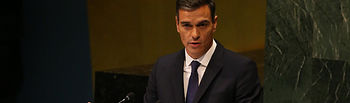 El presidente del Gobierno, Pedro Sánchez interviene en la Asamblea General de Naciones Unidas en su 73 edición.