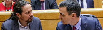 El vicepresidente del Gobierno, Pablo Iglesias, junto al presidente del Gobierno, Pedro Sánchez, durante la primera sesión de control de esta legislatura en el Senado, en Madrid, a 25 de febrero de 2020. Foto: Europa Press 2020