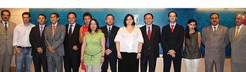 El consejero de Salud y Bienestar Social, Fernando Lamata, en una imagen de archivo, junto con los premiados por los galardones FISCAM de la pasada edición.