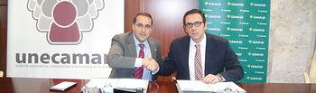 Firma del convenio de Globalcaja y UNECAMAN por el desarrollo económico de Mota del Cuervo y comarca